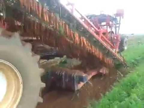 The Radish Harvester Machine At Work