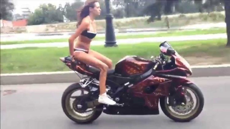 Russian Biker Girl Performing Stunts