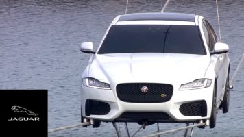 Jaguar XF Performs World's Longest High-Wire Water Crossing